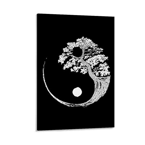 Yin Yang Bonsai Tree Japan Canvas Art Poster and Wall Art Picture Print Modern Family Bedroom Decor Posters 16x24inch(40x60cm)