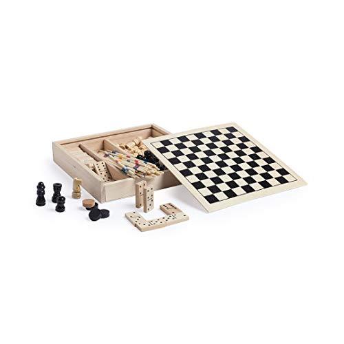 Set Juegos 4 en 1. Ajedrez- Damas- Dominó- Mikado. Juegos Madera (16,3x16,3cm). Regalos Habilidad Estrategia Niños Adultos