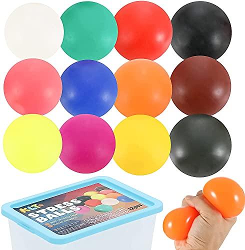 Sensorische Anti Stress Balls Set, 12 Stress Relief Squeeze Ball Spielzeug für Kinder und Erwachsene, weiche Hand Trainer, Squishy Balls Fidget Spielzeug für Autismus/ADD/ADHD, entspannen für Büro