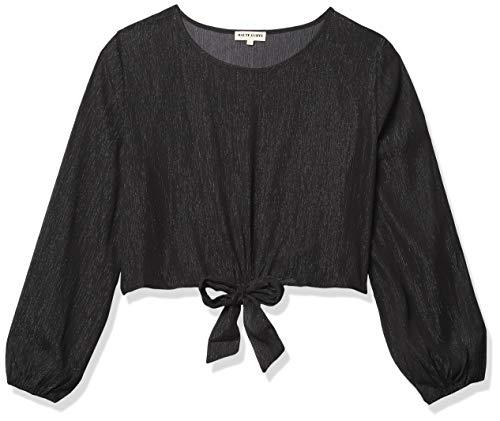 Forever 21 Damen Sheer Metallic Crop Top Hemd, schwarz, 3X