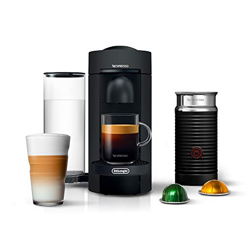 Nespresso VertuoPlus Coffee and Espresso Machine Bundle with Aeroccino Milk Frother by De'Longhi, Black Matte