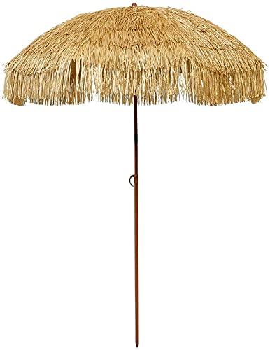 Tiki Umbrella 6.5' Thatch Patio – Tropical Palapa Raffia Tiki Hut Hawaiian Hula Beach Umbrella with Tilt and Fabric Carry Bag (6.5', Natural)