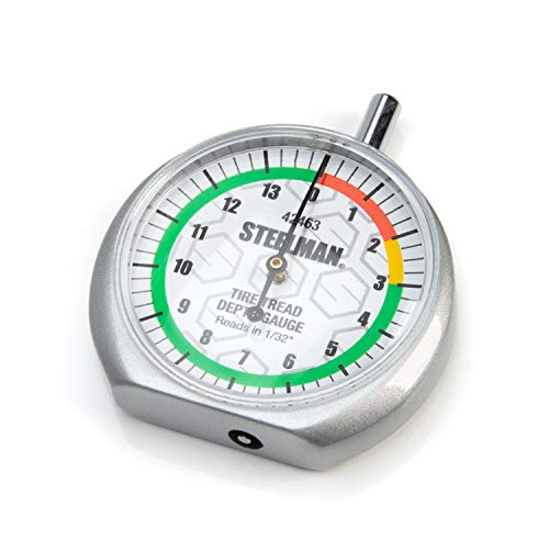 Steelman Dial-Type Color-Coded Tread Depth Gauge, Identifies Tire Wear, Durable Powder-Coated Zinc Alloy Casing for Professional or Home Auto Mechanics