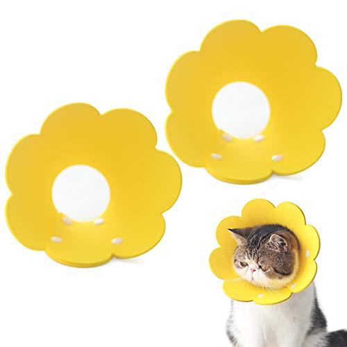 MJL 2 Stücke Schutzkragen Katze Halskrause Haustiere Verstellbares Weiches Halsban für Schützender Kragen Genesung nach Wunde Gelb M