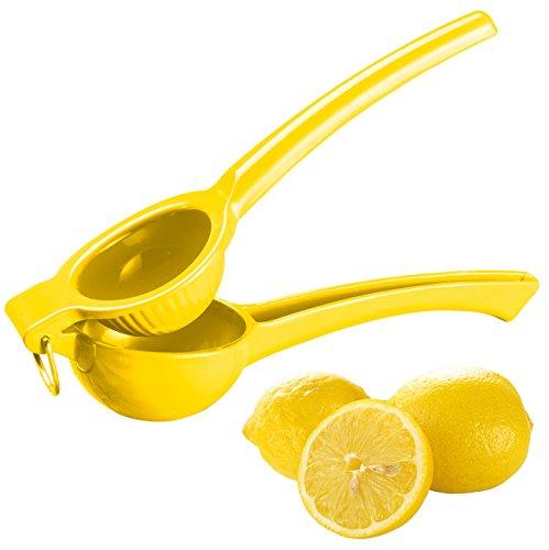Rosenstein & Söhne Zitronenpresse: Manuelle Zitrus- und Saftpresse aus Metall für Zitronen, Ø 7 cm, gelb (Handzitronenpresse)