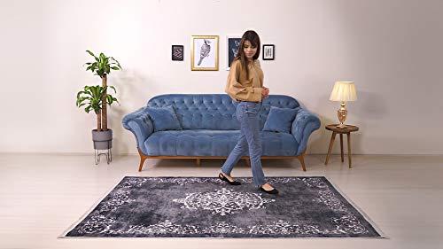 BESYILDIZ KALiTE HALI Designer Teppich Modern Wohnzimmer Esszimmer Schlafzimmer Bordüre Hochwertig Meliert Kurzflor bedruckter Retro Dunkelgrau-Weiß