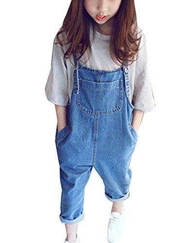 Mädchen Denim Overall Hosenträger Jeans Hose Kinder Latzhose Dunkelblau 140cm