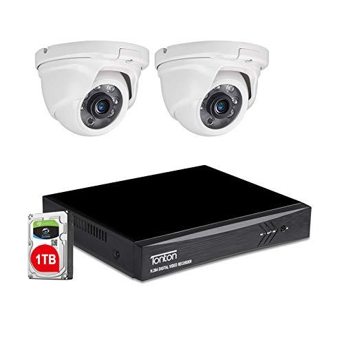 Toton CCTV 4CH 1080P Full HD TVI DVR Sistema de vigilancia con 2Dome 1080P Cámara de vigilancia de vídeo 1TB HDD para Interior y Exterior,20 m IR visión Nocturna, Resistente a la Intemperie,con Cable
