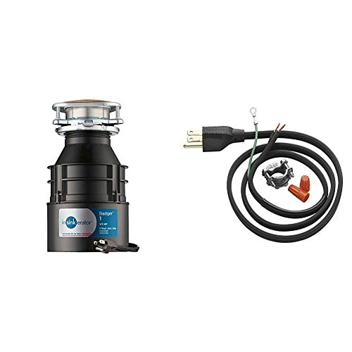 InSinkErator Garbage Disposal with Cord, Badger 1, 1/3 HP Continuous Feed & Garbage Disposal Power Cord Kit, CRD-00