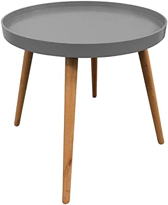 THE HOME DECO FACTORY HD3194 Table Plateau Ronde, MDF, Grise, 50,1x50,1x44,3 cm