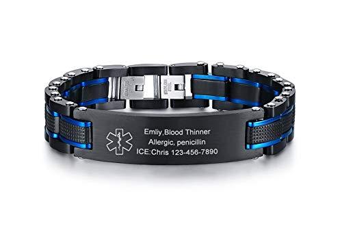 VNOX Two-Tone Black Blue Free Custom Engraving Emergency Medical Alert ID Bracelets for Men Husband Father