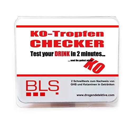 KO-Tropfen Drogentest für Getränke Drink Detektiv - Schnelltest für die Bestimmung von KO Tropfen/GHB/Ketaminen in Getränken innerhalb von 2 Minuten vor Ort / 5er Pack