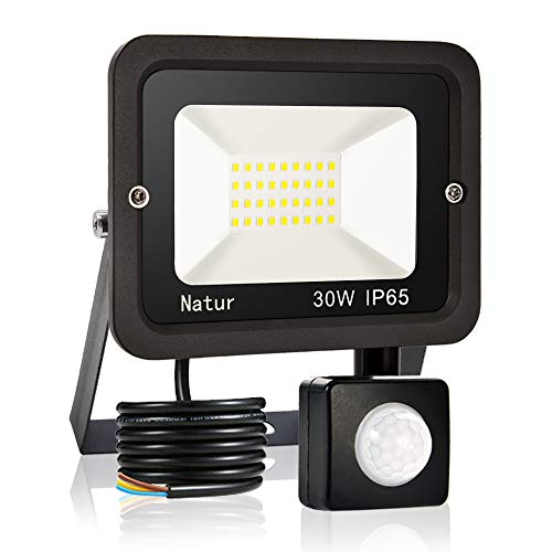 30W LED Foco Exterior con Sensor Movimiento, bapro Proyector LED Impermeable IP65 Floodlight LED Foco Blanco Frío 6000K Exterior Iluminación para Patio, Almacén, Camino, Jardín