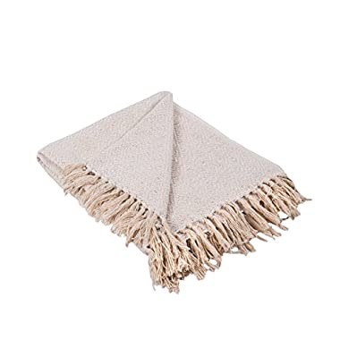 DII Rustic Farmhouse Cotton Diamond Blanket Throw with Fringe For Chair, Couch, Picnic, Camping, Beach, Everyday Use, 50 x 60 - Diamond White