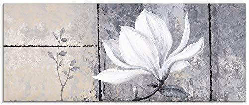 Artland Glasbilder Wandbild Glas Bild einteilig 125x50 cm Querformat Natur Botanik Blumen Magnolie Malerei Klassisch Shabby Chic S6UE