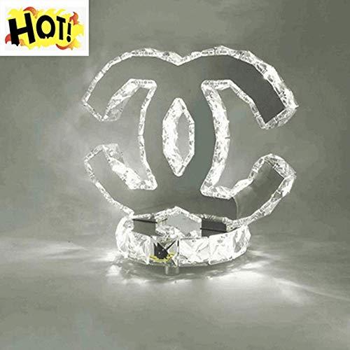 Tafellamp LED K9 Kristal Moderne RVS Spiegel Bureau Lamp Baby Kamer Slaapkamer Woonkamer Hall Elegante Semicirkel Dubbele C Verlichting L26cm*H24cm 18W