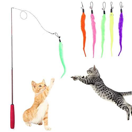 HO2NLE Katzenspielzeug Interaktives Katze Spielzeug Einziehbare Katzenangel KatzenTeaser mit 5 Stück Ersatz Wurm Spielzeug Wurm Teaser und Exerciser für Katze und Haustier