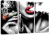 ZDFDC Schwarz und Weiß Sexy Mädchen Rote Lippen Rauchen Wandkunst Bilder Poster und Drucke Leinwand Kunst Gemälde für Wohnzimmer Schlafzimmer Dekor-40x80cmx3 kein Rahmen