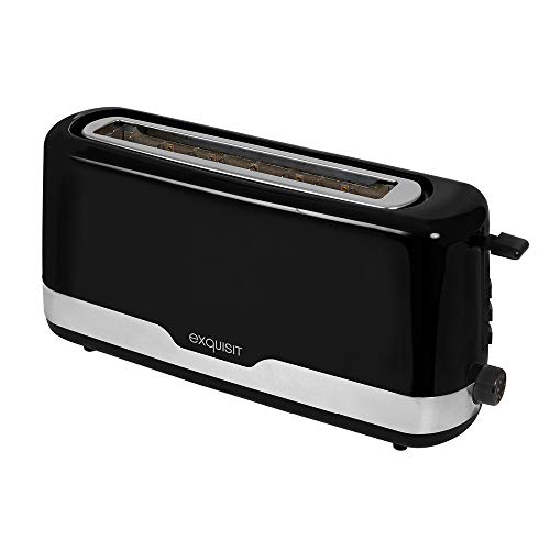 Exquisit Toaster TA 6501 swi |Langschlitz-Toaster | Brötchenaufsatz und Krümellade | 850 Watt | Bräunungsgrad stufenlos einstellbar | mit Aufwärm-, Auftau-, und Schnellstopp-Funktion | Schwarz
