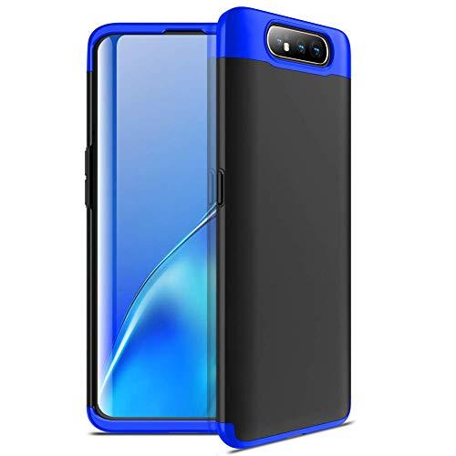 Capa Capinha Anti Impacto 360 Para Samsung Galaxy A80 Tela De 6.7Polegadas Case Acrílica Fosca Acabamento Slim Macio - Danet (Preto com azul)