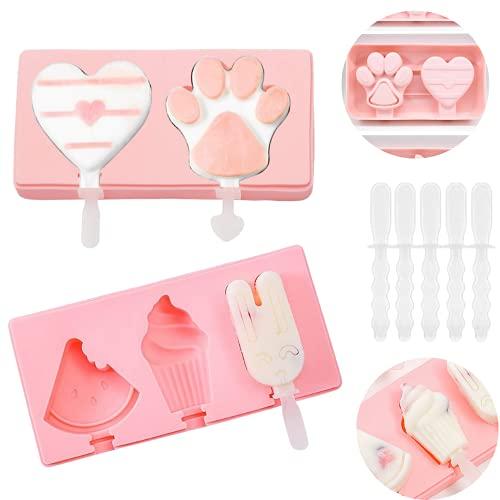 Olywee 2er Pack Eislutscher-Silikon DIY Eis am Stiel Formen Set, Eislutscher Maker Frozen Chocolate Dessert Püree Formen Eisform mit Deckel.
