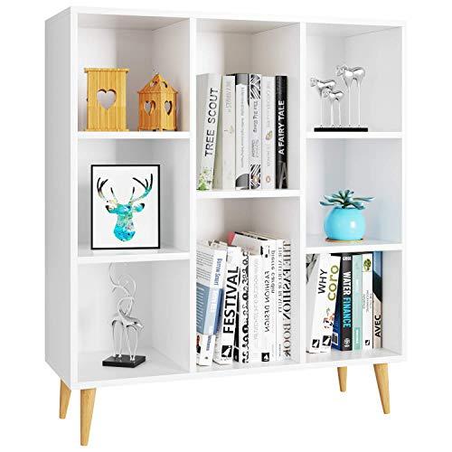 Librería Estantería Blanca Estante de Exhibición Mueble Auxiliar Decorativo para Salón Dormitorio Oficina Nórdico con 8 Cubos para Libros 80X29.5X93cm