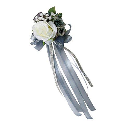non-brand Encaje de Flor de Seda para Casamiento Adorno de Coche - Gris-Plata, 32 x 12 x 10cm