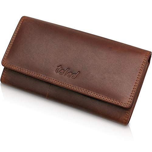 TALED® Geldbörse Damen Flap aus echtem Vintage Büffelleder mit RFID-Schutz - Geldbeutel Damen inkl.hochwertiger Geschenkbox - Portemonnaie Braun Vintage