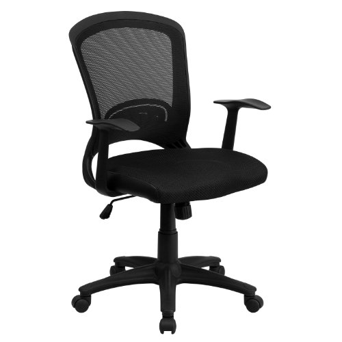 Flash Furniture Mid-Back Designer Black Mesh Swivel Task Office Chair with Arms, BIFMA Certified