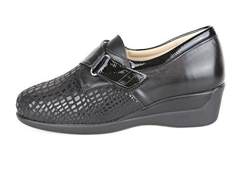 Zapatos para juanetes y pie diabetico. Zapatos con Anchos Especiales con Plantilla Extraible para pies delicados. Zapato con Velcro Color Negro con Pala Elástica (38 EU)