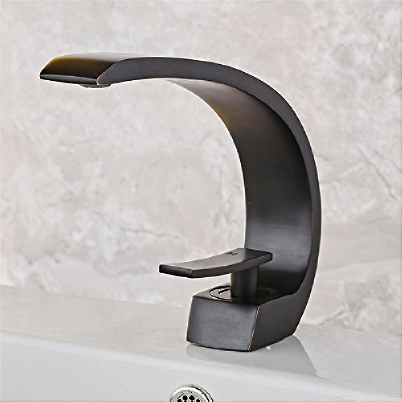 Bijjaladeva Wasserhahn Bad Wasserfall Mischbatterie Waschbecken WaschtischDas Becken aus Bronze Mischer heiem und kaltem Einloch Mischbatterie Schwarz Waschbecken Armaturen