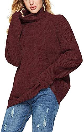 Serface dames coltrui Winter Black Wei?Oversized gebreide trui Elegant met lange mouwen gebreide trui zachte sweatshirt Tops Tops, Gr ?? e: XL, Kleur: Zwart (Color : Weinrot)