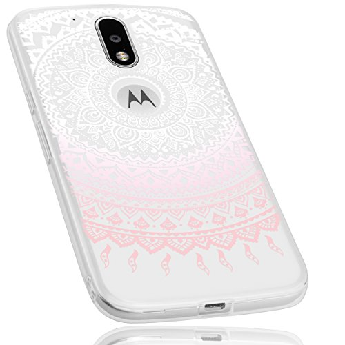 mumbi Hülle kompatibel mit Lenovo Moto G4 / G4 Plus Handy Case Handyhülle mit Motiv Mandala rosa, transparent