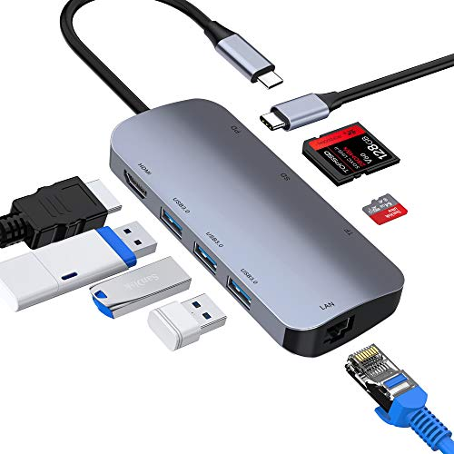 ABLEWE HUB USB C, 8 en 1 USB C Adattatore con Ingresso HDMI 4K,3 Porte USB 3.0,Lettore di schede SD/TF,Gigabit Ethernet RJ45,Porta di Carica 87W Type C Hub per MacBook,MacBook PRO,Chromebook,XPS