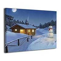 絵画 油絵 30 * 40 Cm 雪だるまの家 Snowman ポスター おしゃれ インテリア 壁アート ウォールペーパー ウォール おしゃれ お風呂の装飾 キャンバスアート アート油画 パネル ャンバス 軽くて取り付けやすい
