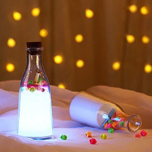 Kaper Go Forma De Botella De Leche Luz De Sueño Luz Deriva Luz De Noche Luz De Atmósfera Colorida Luz De Botella De Deseo De Regalo De San Valentín (D10Cm * H18Cm)