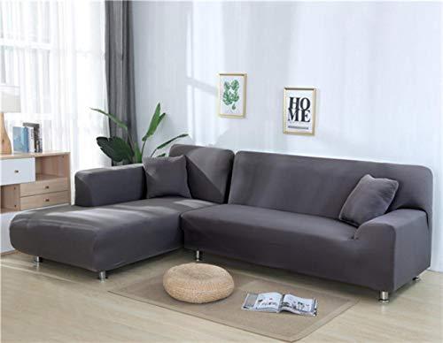 XCVBSofa Cover Sofa Stretch Couch Cover Kussenovertrekken voor Woonkamer Effen Kleur Elastische Sofa Cover voor L-vormige Hoekbank Chaise Longue, Donkergrijs
