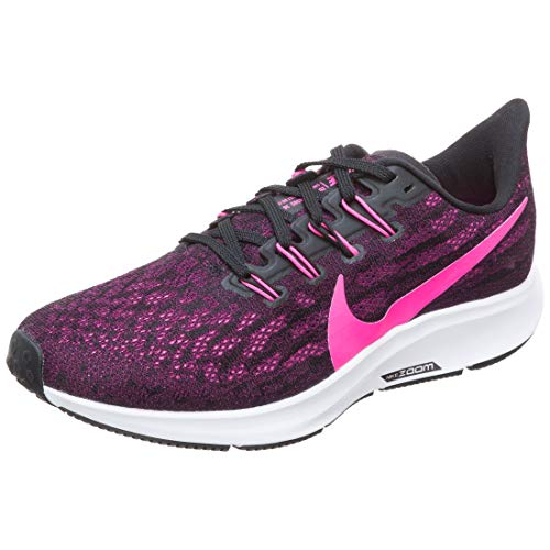 Nike Air Zoom Pegasus 36, Running Shoe Donna, Black Pink Blast True Berry Wh, 42 EU
