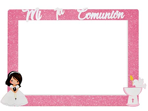 Photocall Niña Comunión de Corcho con Purpurina Color Rosa. Regalos Originales. Decoración para Fiestas de Cumpleaños, Bodas, Bautizos, Comuniones y Eventos.120x90 cm