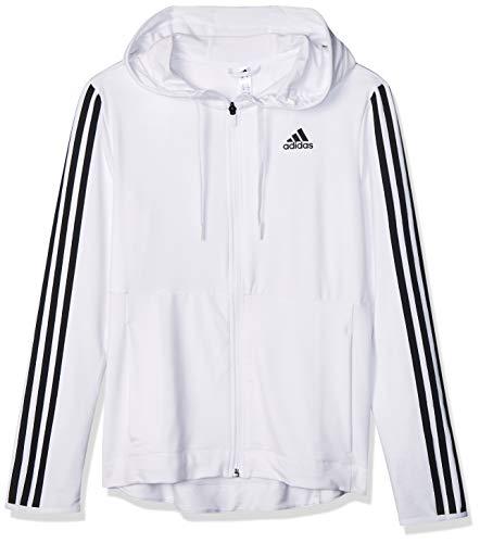 adidas Womens 3s KNT Fz Hoody Hooded Sweatshirt, White, S