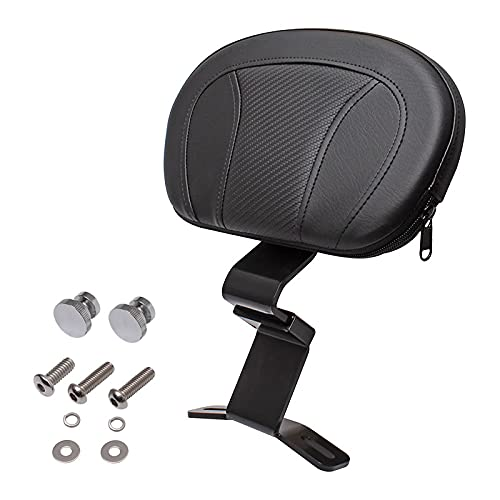 H-Ruo Black Front Driver Rider Backrest with Pad Compatible with Harley Touring CVO Street Glide Road King 2009-2020