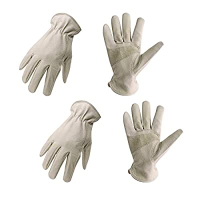 2 Pairs Pigskin Leather Work Gloves with Reinforced Palm for Men & Women, Stretchable Wrist Rigger Glove for Driver, Construction, Yardwork, Gardening (S, Beige)