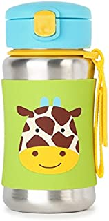 Skip Hop Zoo Stainless Steel Straw Bottle, Giraffe