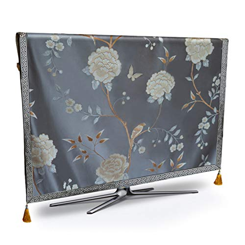 Protector Tv Exterior Funda,Funda Tv TV cubierta de polvo de gama alta flor de mal tiempo ya prueba de polvo de pantalla de plasma de televisión del grosor del rodillo del tejido cubierta de tela Cojí