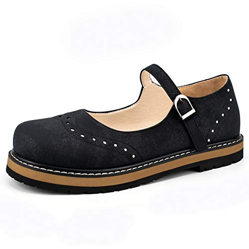 100FIXEO Women Vintage Platform Mary Janes Flats Comfortable Sewing Buckle Strap Round Toe School Shoes (Black, 7)