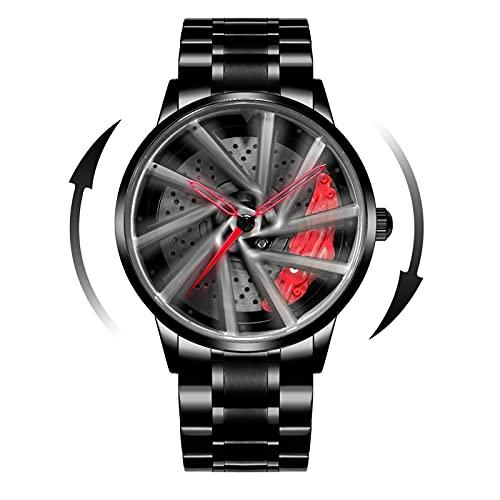 Mihawk - Reloj de pulsera para hombre, de cuarzo, de acero inoxidable, impermeable, deportivo, con diseño de buje de llanta