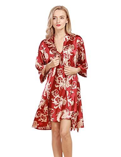 Dames nachthemd bloemenprint Homewear jurken tuniek meisjes lange mouwen nachtkleding tweedelige V-hals badjas pyjama