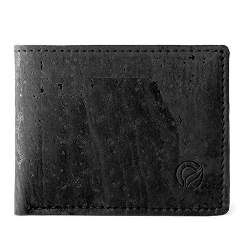 Corkor Cork Wallet for Men | Vegan Cruelty Free Non Leather | Bifold Cards Cash Black Color