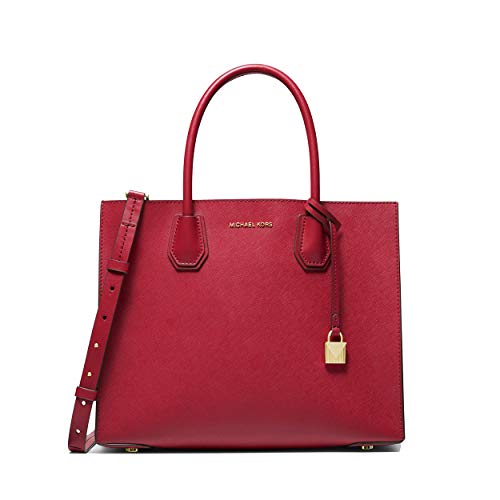Bright Red Leather / Gold Hardware Large satchel made of genuine leather. magnetic closure Detachable shoulder or crossbody strap. Brand name hardware at front. Lined interior with pockets Measurements: Width: 12.5 in; Depth: 5 in; Height: 10.5 in; D...