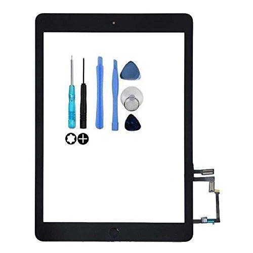 Touch Screen Digitizer Replacement for iPad Air1 iPad 5th 2013 A1474 A1475 A1476 Front Glass Assembly Includes Home Button + Camera Bracket with Tools Kit (black)